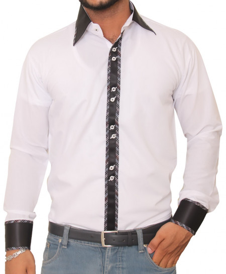 Tanzaib White And Black Exquisite Button Line And Cuff Designer Shirt