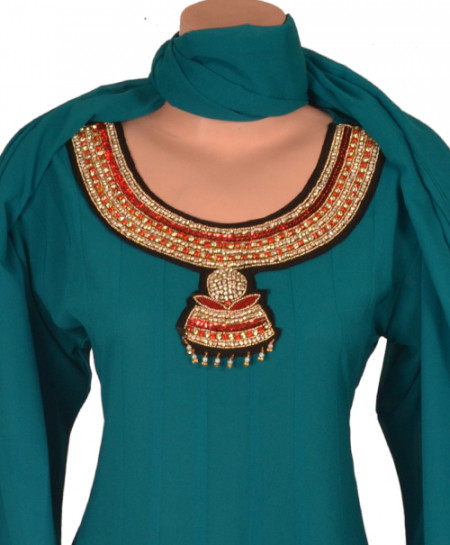Ladies Hand Work Embroidery  Semi Stitched Suit SL-344