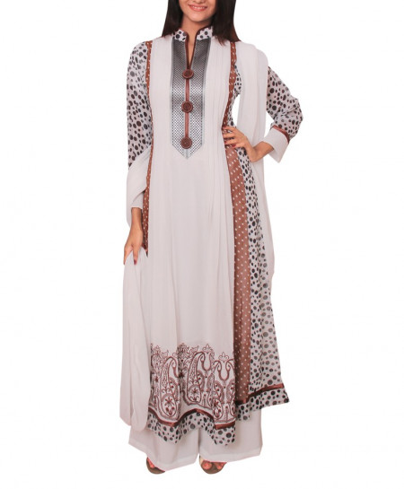White And Brown Contrast Polka Dots Embroidered Stitched Suit PD-001