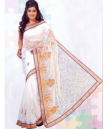 Zarish White And Golden Embroidered Saree D-3