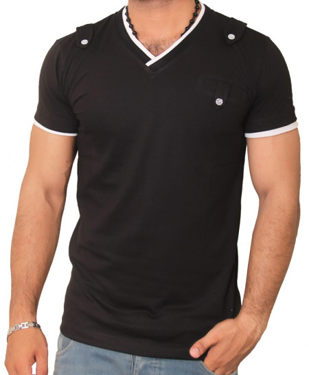 White Modern V-Neck Black Summer T-Shirt