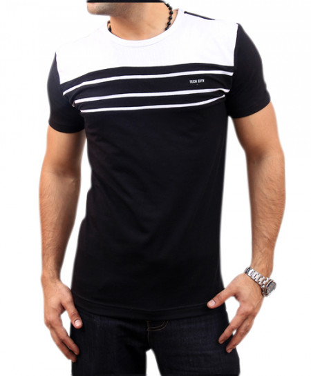 White Striped Black T-Shirt FS-1425