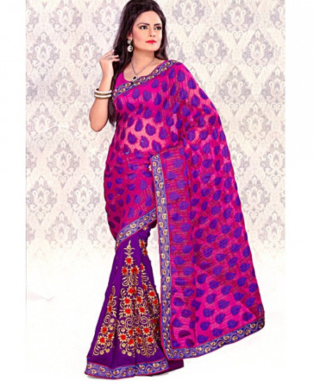 Zarish Purple Embroidered Saree-4711