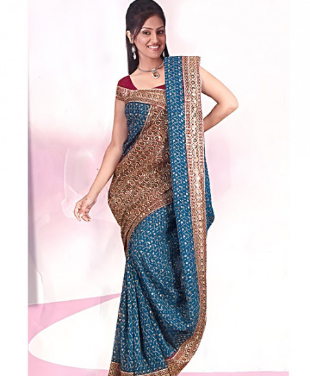 Zarish Pine Green Embroidered Saree D-1880