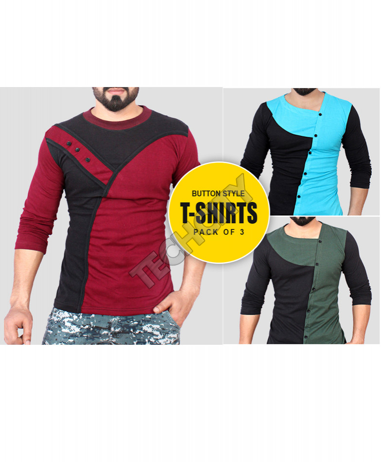 Pack Of 3 Button Style T-Shirts FJ-210