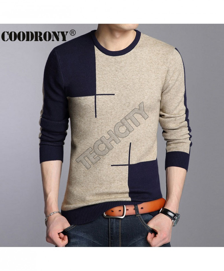 COODRONY Gray Navy Round Neck Panel Sweaters AT,880