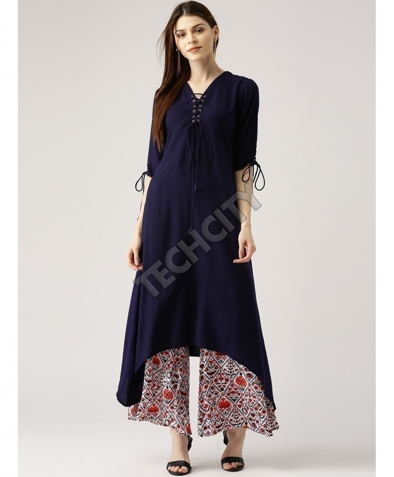 Navy Airline Frock Laces Style Ladies Kurti ALK-879